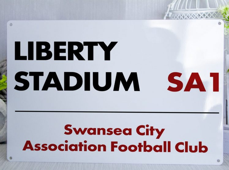 White black and red Swansea City FC Liberty Stadium Metal Street Sign