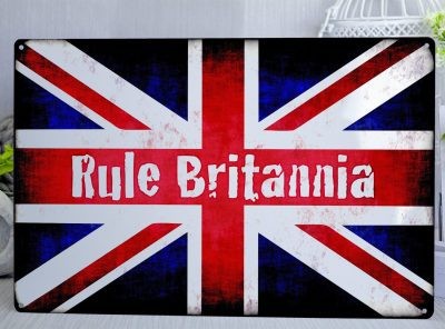 Red, blue and white distressed Union Jack distressed metal sign