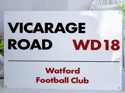 White black and red Watford FC Vicarage Road Metal Street Sign