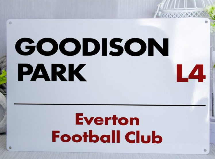 White red and black Everton FC Goodison Park Metal Street Sign