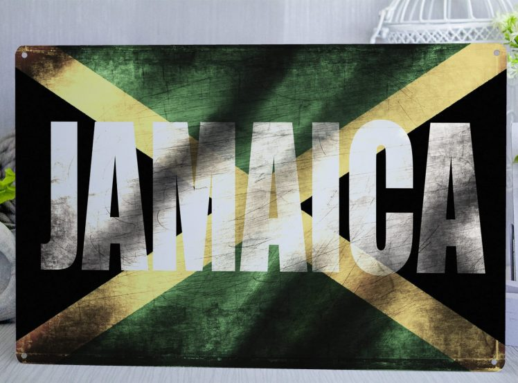 Jamaican flag with Jamaica in white text Metal Sign