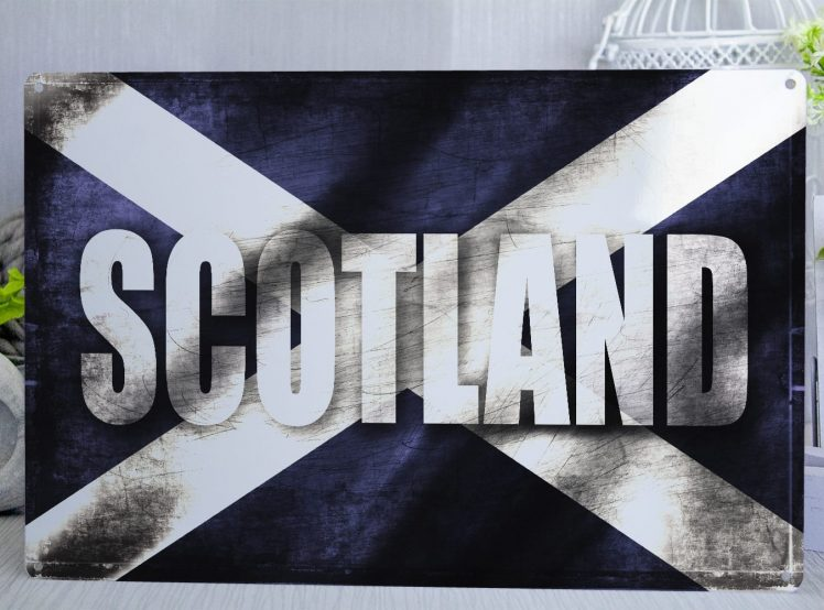 Scottish flag Metal Sign with the word Scotland on it