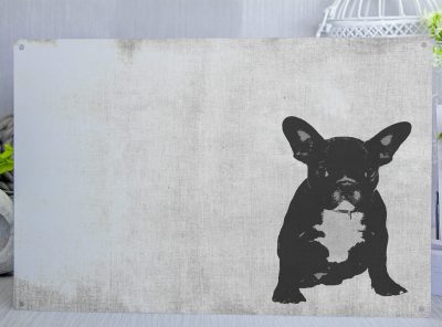 French Bulldog Puppy posterised Metal Sign