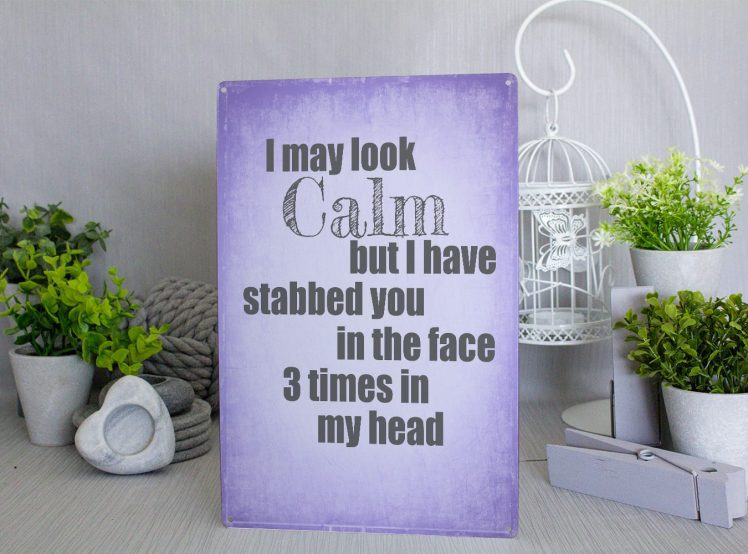 Purple metal sign with the words I may look clam but I have stabbed you in the face 3 time in my head