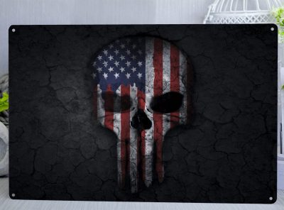 Dark grey/black background with a skull draped in the American flag the Star Spangled Banner Metal Sign