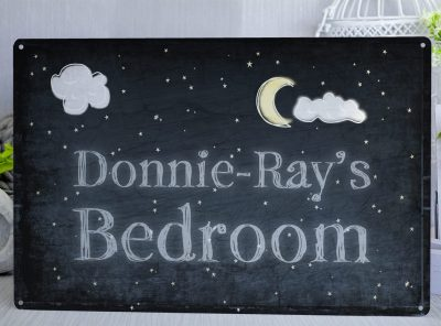Midnight Blue personalised children's bedroom metal sign