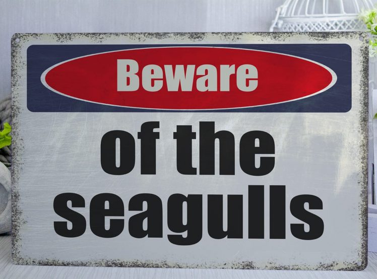 White red and blue distressed Beware of the seagulls Metal Sign
