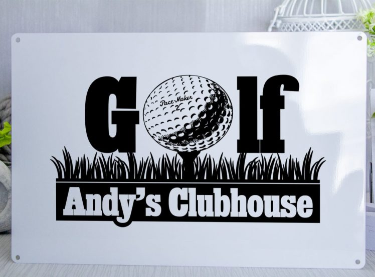 White metal sign with black text that reads GOLF the O has been replaced by a golf ball on a tee. Underneath It says Andy's Clubhouse. You can choose any name you want on the sign
