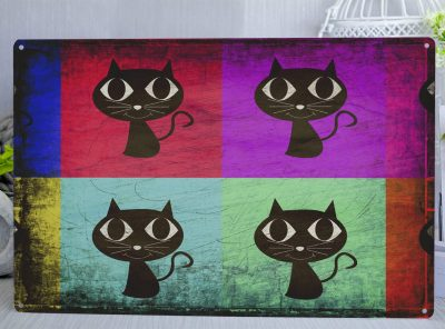Pop art style colourful cat Metal Sign. Brightly coloured sqaures with a cute black illustrated cat sat in the middle of each one