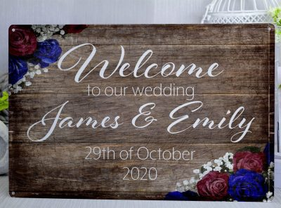 Welcome to our wedding Customised Metal Sign