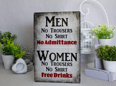 Women Free Drinks Metal Sign