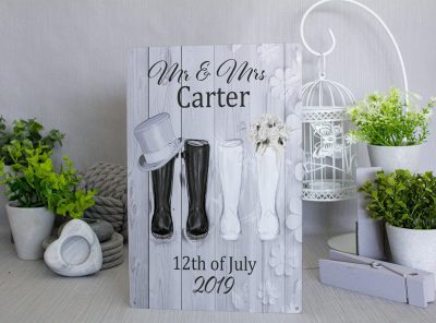 Customised Mr and Mrs Wellies Wedding Metal Sign