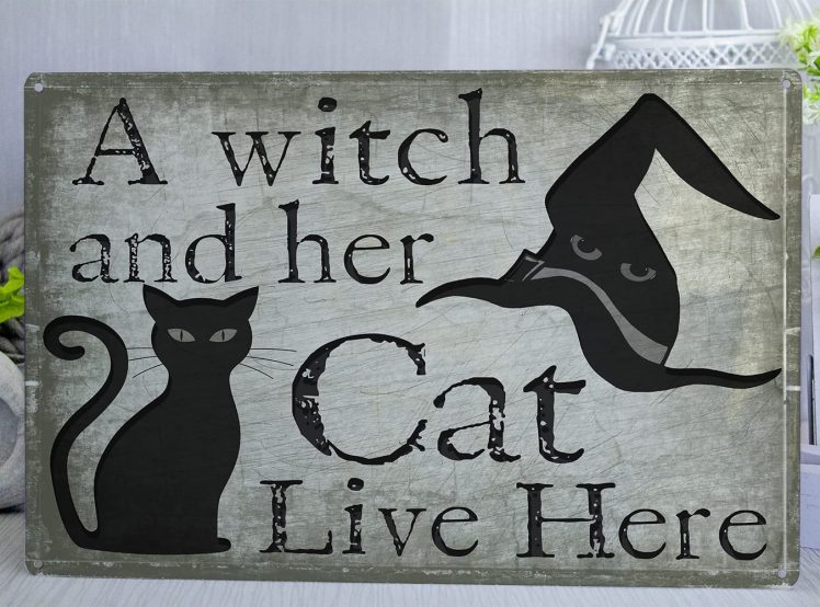 Green and black metal sign with a cat and a witch hat on it