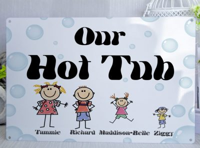 Personalised Family Hot Tub Metal Sign