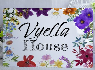 Personalised Floral Sign With Black Text Metal Sign
