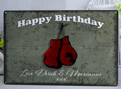 Personalised Happy Birthday Red Boxing Gloves Metal Sign