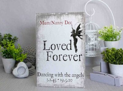 Personalised Loved forever Fairies Metal Sign