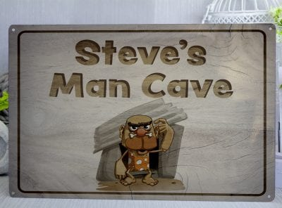 Personalised Man Cave Bald Cave Man Metal Sign