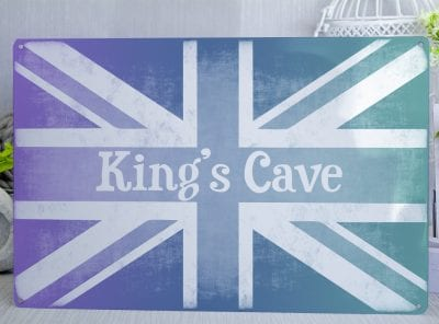 Personalised Union Jack Sign Purple blue and Green Metal Sign