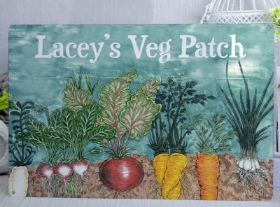 Personalised Veg Patch White Text Metal Sign
