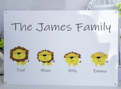 Pesonalised Lion Family Metal Sign