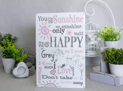 You are my sunshine intricate Pink and Grey Metal Sign