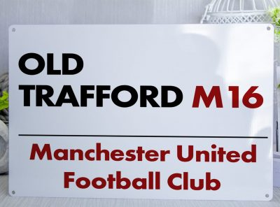 White Black and red Old Trafford Metal Street Sign