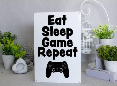 Black and white PlayStationeat sleep game repeat metal sign