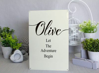 Personalised Let the adventure begin cream Metal Sign