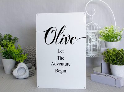 Personalised Let the adventure begin white Metal Sign