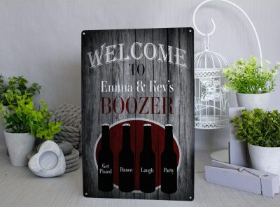 Personalised Welcome to our bar Metal Sign