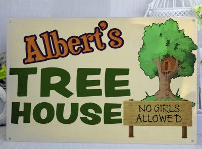 Personalised Tree House Metal Sign