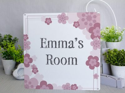Personalised Floral Room Metal Sign Metal Sign