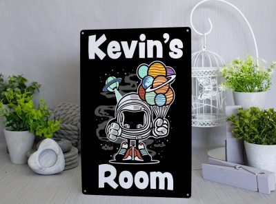 Personalised Space Man Room Metal Sign