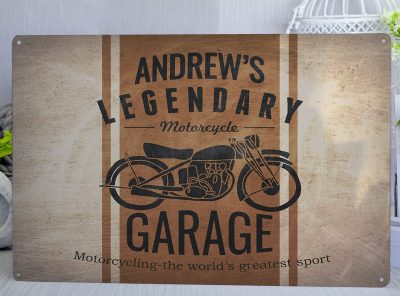 Personalised Vintage Motorcyle Garage Orange Metal Sign