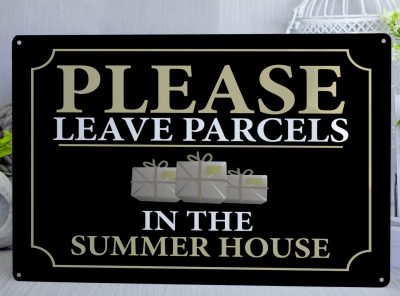 Please Leave parcels Metal Sign