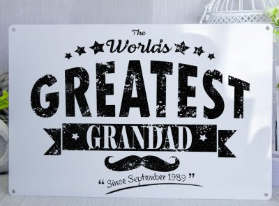 The Worlds Greatest Grandad Vintage Print Black/White Metal Sign