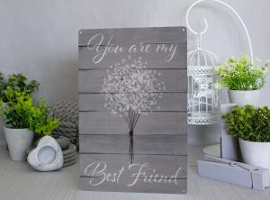 You are my best friend Grey and white flowers  Metal Sign